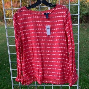 GAP MED L/S Hawaiian Red Teardrop Career Blouse